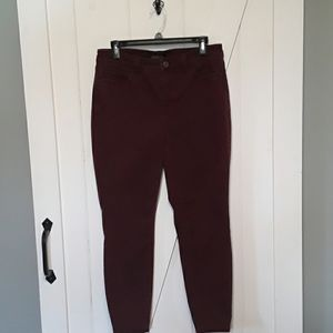 Burgundy Talbots Flawless Five Pocket Jeggings